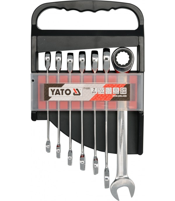 Ключи рожково-накидные с трещоткой (набор 7пр.) CrV Yato YT-0208
