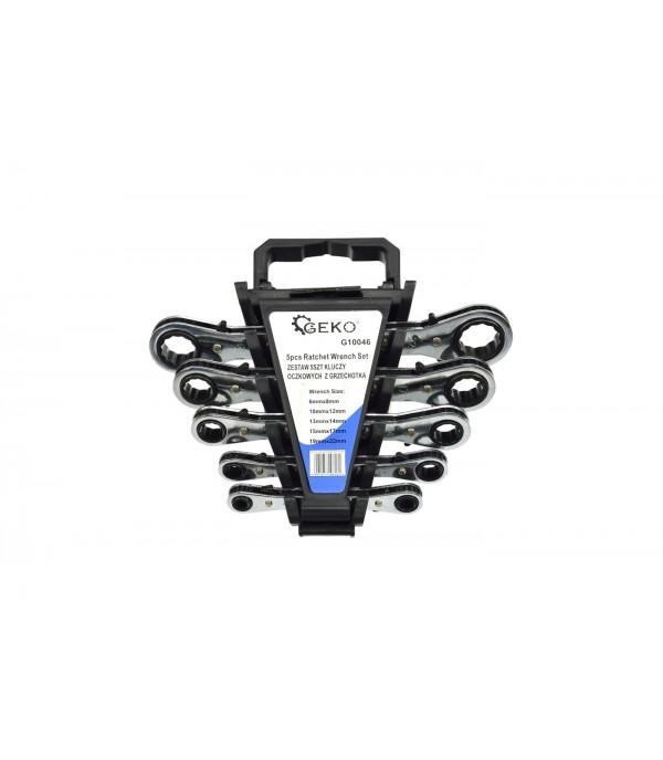 Ключи накидные трещоточные 6-22мм (набор 5пр.) Geko G10046