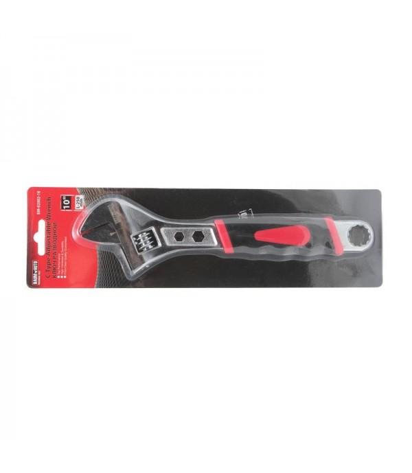 Ключ разводной с прорезиненной рукояткой и профильными отверстиями в корпусе под гайки (6гр.-8, 9мм, 12гр-17мм) 10''-250мм BaumAuto BM-02002-10