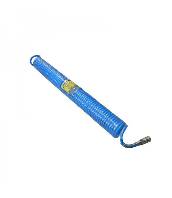 Шланг витой полиуретановый 6.5мм х 10мм х 5м с быстроразъемными наконечниками 1/4''(максимальное давление - 15bar, рабочая температура от -20 до +60 г) Partner PA-1065-5M