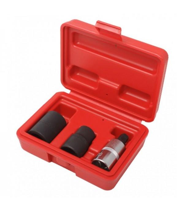 Набор головок для обслуживания тормозной системы автомобиля(14мм, 19мм - 5гр., М10 - 5гр.) 1/2'' 3пр., в кейсе Forsage F-01T0026