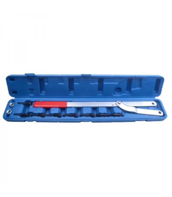 Набор инструментов для фиксации шкивов (рабочий диапазон 40-220мм, диаметры штифтов: 6-10,8-11,10-12,11-16мм) 11пр., в кейсе Rock FORCE RF-911G1