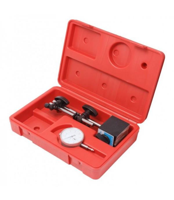 Индикатор часового типа с магнитной стойкой (0-10мм, погрешность-0,01мм) в кейсе Forsage F-01729