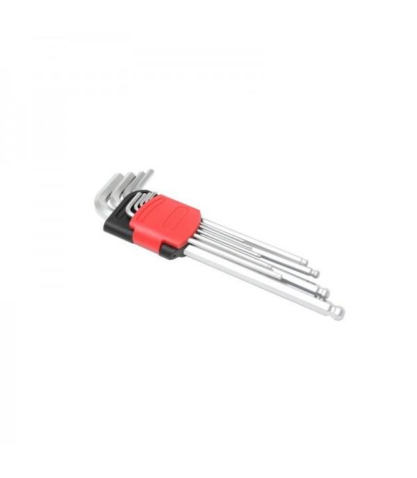 Набор ключей Г-образных 6-гранных экстра длинных с шаром 9пр. (1.5, 2, 2.5, 3, 4, 5, 6, 8, 10мм) в пластиковом держателе Forsage F-5093XLB