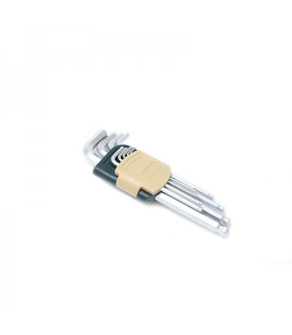 Набор ключей Г-образных 6-гранных длинных с шаром 9пр. (1.5, 2, 2.5, 3, 4, 5, 6, 8, 10мм) в пластиковом держателе Rock FORCE RF-5093LB