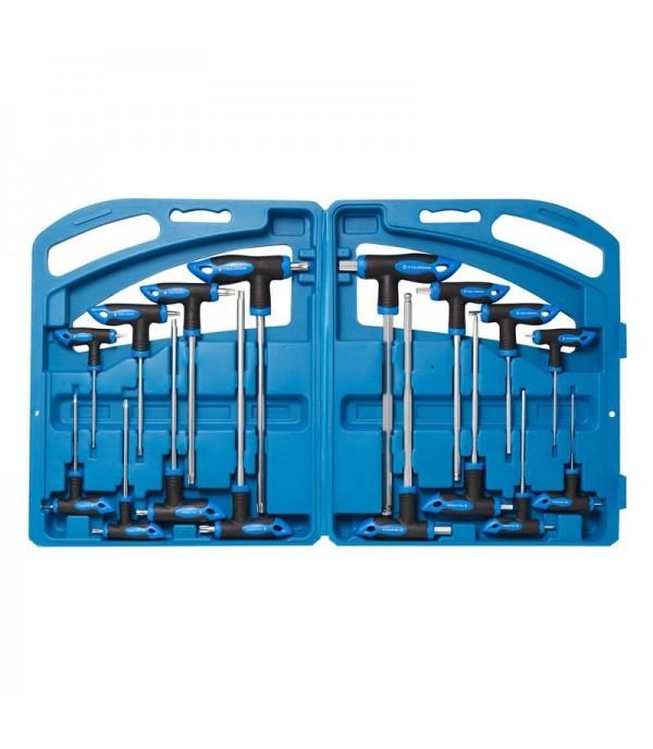 Набор ключей Т-образных TORX/6-гранныхс шаром,16пр.(Н:2,2.5х75, 3,4х100, 5,6х150, 8,10х200мм, Т:10,15х75, 20,25х100, 30,40х150, 45,50х200мм), в кейсе Rock FORCE RF-5166B