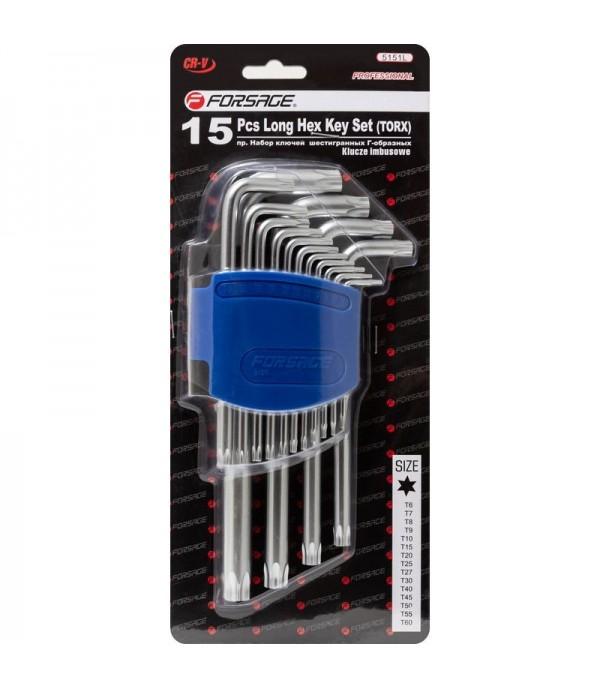 Набор ключей Г-образных TORX длинных, 15пр.(Т6, Т7, Т8, Т9, Т10, Т15, Т20, Т25, Т27, T30, T40, T45, T50, T55, T60)в пластиковом держателе Forsage F-5151L