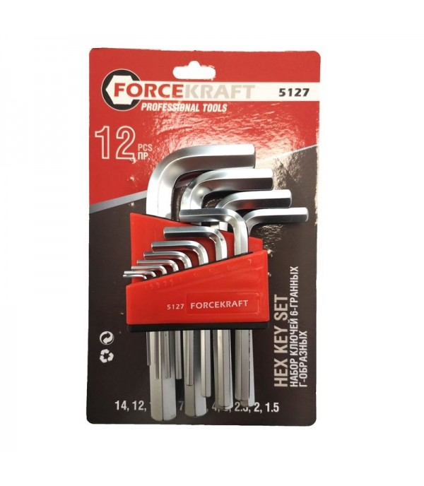 Набор ключей Г-образных 6-гранных, 12пр. (1.5, 2, 2.5, 3-8, 10, 12, 14мм) FORCEKRAFT FK-5127