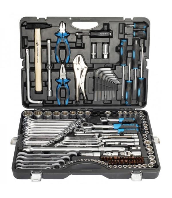 Набор инструментов 142+6пр. 1/4''3/8''1/2''(6-гран.)(4-36мм, 27,30,32,36-12гр.)+(ключи трещоточные:8х10,12х13,14х15,16х17,18х19мм, бокорезы-7'') Forsage F-41421-5 Premium