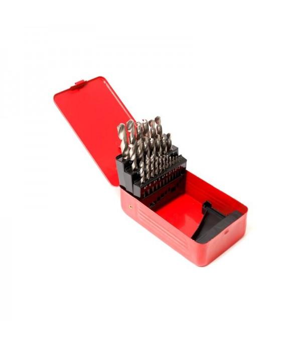 Набор сверл по металлу HSS 4241,25пр(1-13мм, шаг 0.5мм), в метал. футляре PATRON P-924U25