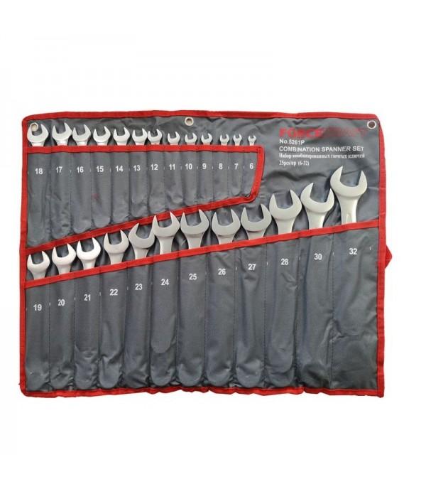 Набор ключей комбинированных 25 пр (6-27,28,30,32мм), на полотне FORCEKRAFT FK-5261P
