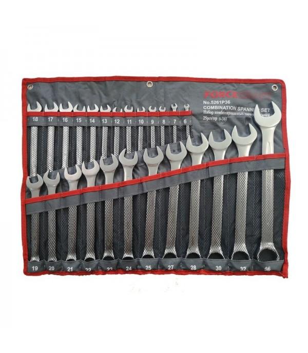 Набор ключей комбинированных 25 пр (6-25,27,28,30,32,36мм), на полотне FORCEKRAFT FK-5261P36