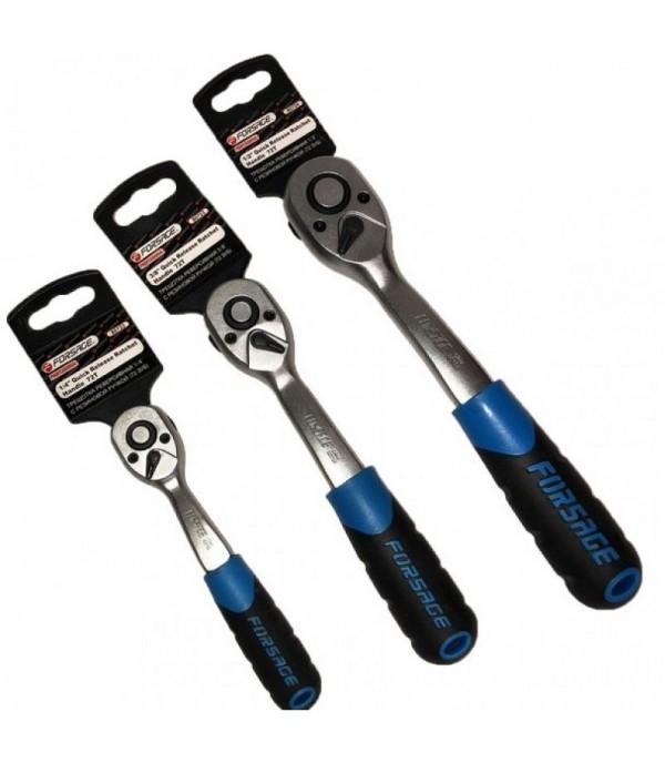 Трещотка реверсивная с резиновой ручкой 1/2''(72зуб., L-250мм) FORSAGE 80724