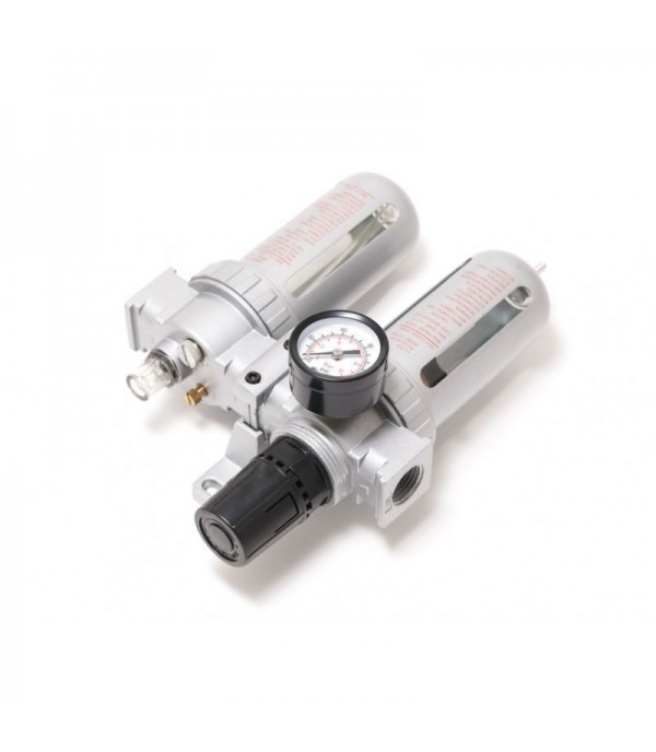 Блок подготовки воздуха для пневмосистемы 1/4''(фильтр-регулятор + лубрикатор, диапазон регулировки давления 0-10bar температура воздуха 5-60С 10Мк) Forsage F-AFRL802