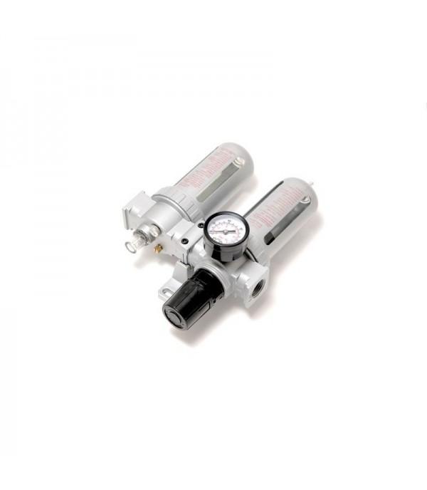 Блок подготовки воздуха для пневмосистемы 1/2''(фильтр-регулятор + лубрикатор, диапазон регулировки давления 0-10bar температура воздуха 5-60С 10Мк) Rock FORCE RF-AFRL804