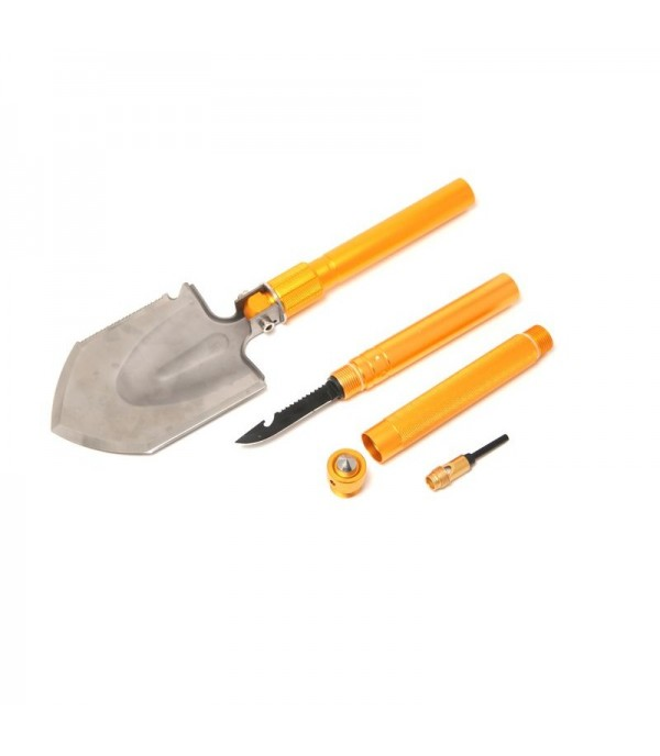 Лопата складная многофункциональная9в1(3ручки удлинителя,спасательный молоток,свисток,тактический нож,топор,пила,открывашка,магниевый стержень)в чехле WMC TOOLS 171U