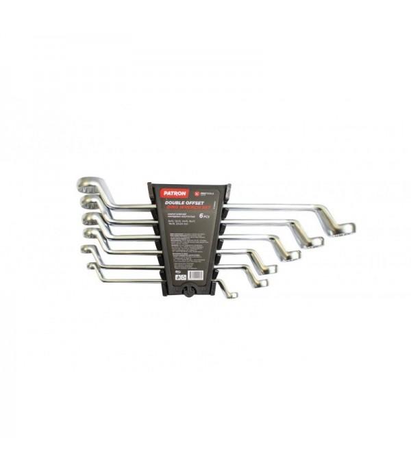 Набор ключей накидных отогнутых на 75грд. 6пр.(8x10,12x13,14x15,16x17,18x19,22x24мм) PATRON P-50610