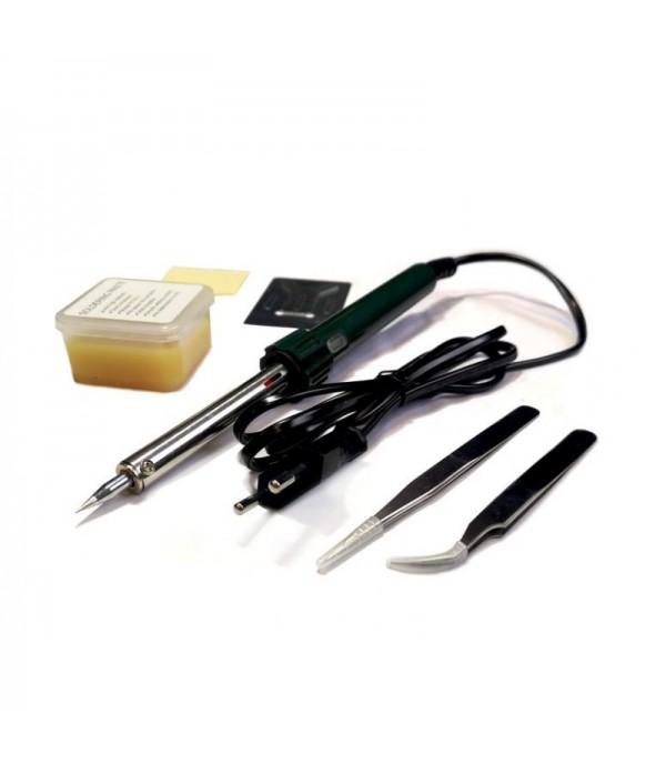 Паяльник электрический с набором инструментов и аксессуаров 6пр (220V,50Hz,60W,пинцеты-2шт,расходники) в сумке Forsage F-8272-6
