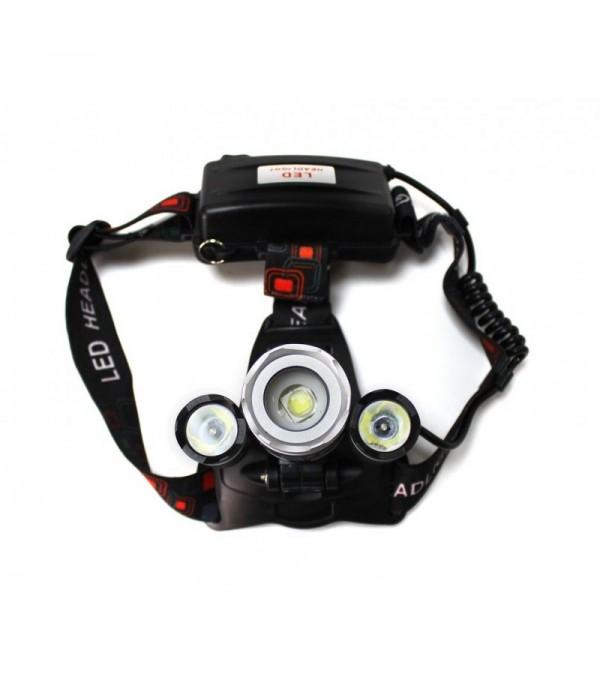 Фонарь светодиодный аккумуляторный налобный (5W LED,400Lm,2000mAh,зарядка12V,время раб.4ч,время заряд.5ч,защита гнезда зарядки) Forsage F-01147