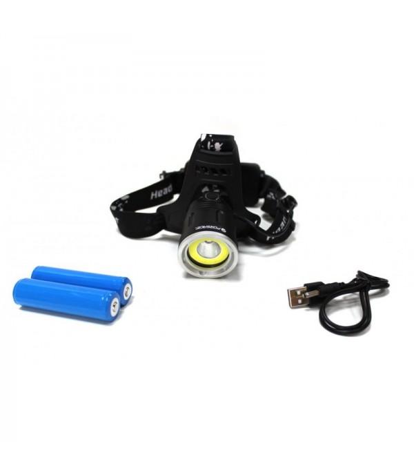 Фонарь светодиодный аккумуляторный налобный (5W COB LED1500Lm,,2000mAh,зарядка12V,время раб.4ч,время заряд.6ч,защита гнезда зарядки) Forsage F-01403