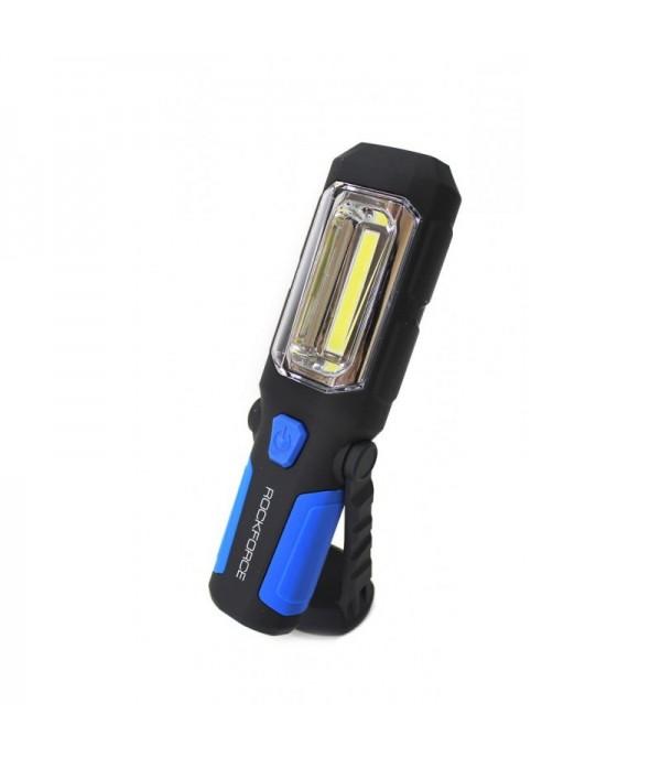 Лампа светодиодная аккумуляторная(4W COB+1W,2 магнита,крючок,180гр.,250Lm,2000mAh,зарядка12V,время раб.5ч,время заряд.3ч) Rock FORCE RF-L02