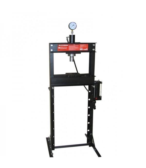 Пресс гидравлический с манометром напольный 20т ручной(рабочая высота:0-1030мм.рабочая ширина-500мм.Рабочий стол:210*500,ход штока 160мм) FORCEKRAFT FK-20001