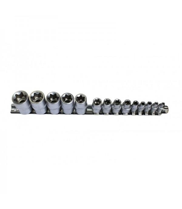 Набор головок Е-профиль,14пр(1/4'':Е4,5,6,7,8, 3/8:Е10,11,12,14, 1/2'':Е16,18,20,22,24) на планке FORCEKRAFT FK-4158