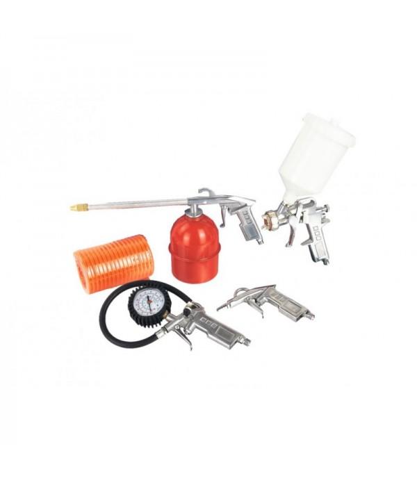 Набор пневмоинструмента 5пр. (краскопульт-сопло 1.5мм+доп.сопло 2.0мм,обдувочник,подкачка,промывка+шланг 5м) KINGTUL KT-8031K5-G