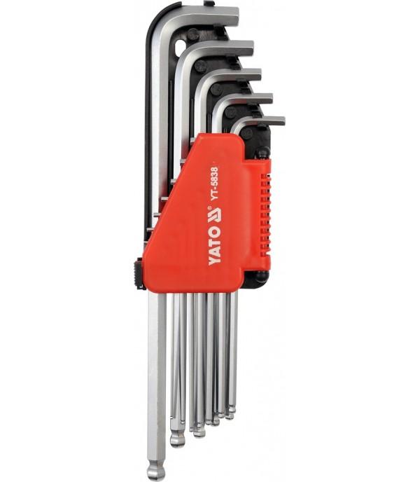 """Ключи шестигранные 1/16""""-3/8"""" дюймовые с шаром (набор 12шт.) YATO YT-5838"""