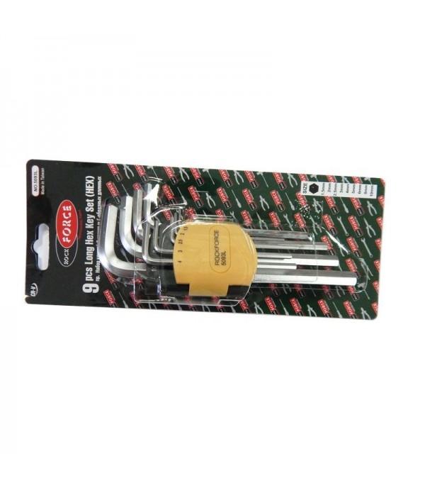Набор ключей Г-образных 6-гранных длинных 9пр. (1.5, 2, 2.5, 3-6, 8, 10мм) в пластиковом держателе Rock FORCE RF-5093L
