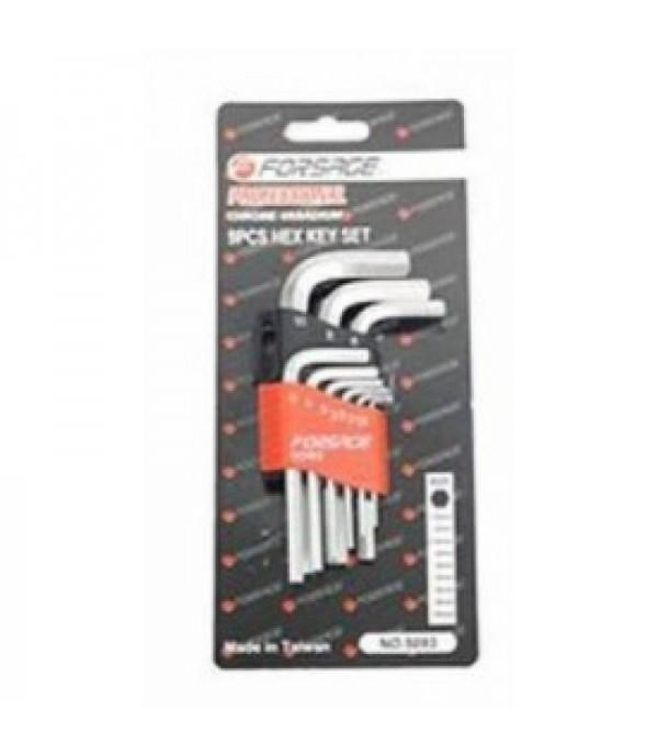 Набор ключей Г-образных 6-гранных 9пр. (1.5, 2, 2.5, 3-6, 8, 10мм)в пластиковом держателе Forsage F-5093