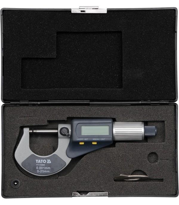 Микрометр с цифровым индикатором 0-25мм Yato YT-72305