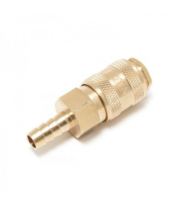 Быстроразъем пневматический с клапаном ''елочка''6мм (латунь) Partner BSE1-2SH