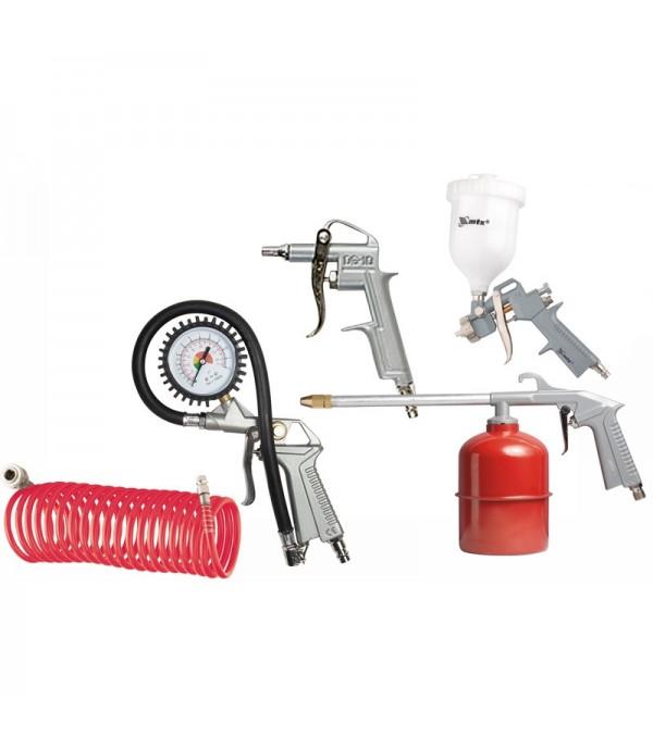Набор пневмоинструмента 5пр с быстросъемами (краскопульт-сопло 1.5мм+доп.сопло 2.0мм+шланг 5м) Partner 8031K5-G