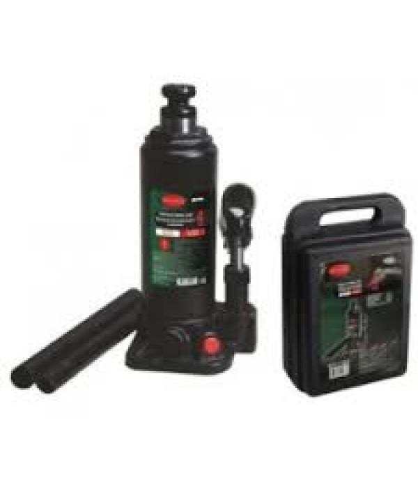 Домкрат бутылочный с клапаном + дополнительный ремкомплект 4т в кейсе Rock FORCE T90404-S