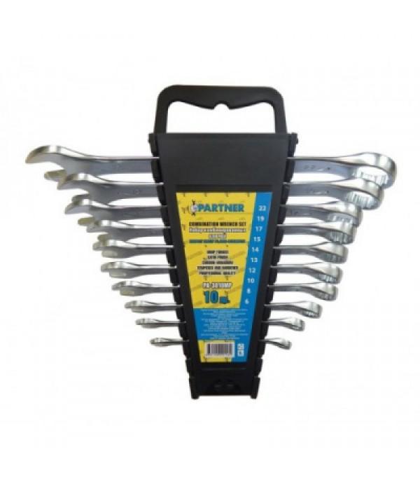 Набор ключей комбинированных 10пр (6, 8, 10, 12, 13, 14, 15, 17, 19, 22мм) в пластиковом держателе Partner PA-3010MP