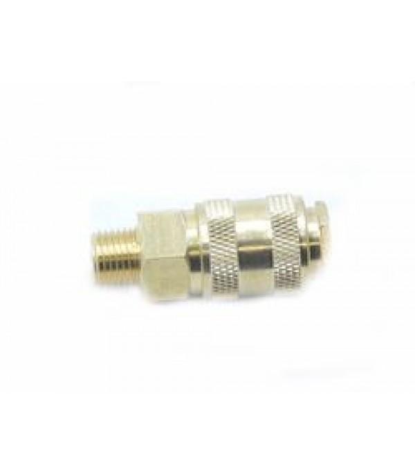 """Быстроразъем пневматический с клапаном с наружной резьбой 3/8"""" (латунь) Partner BSE1-3SM"""