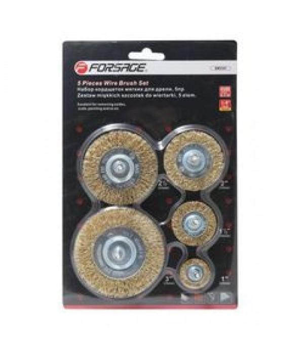 Набор кордщеток дисковых латунных для дрели 5пр (25, 38, 50, 63, 75мм) Forsage F-BWS501