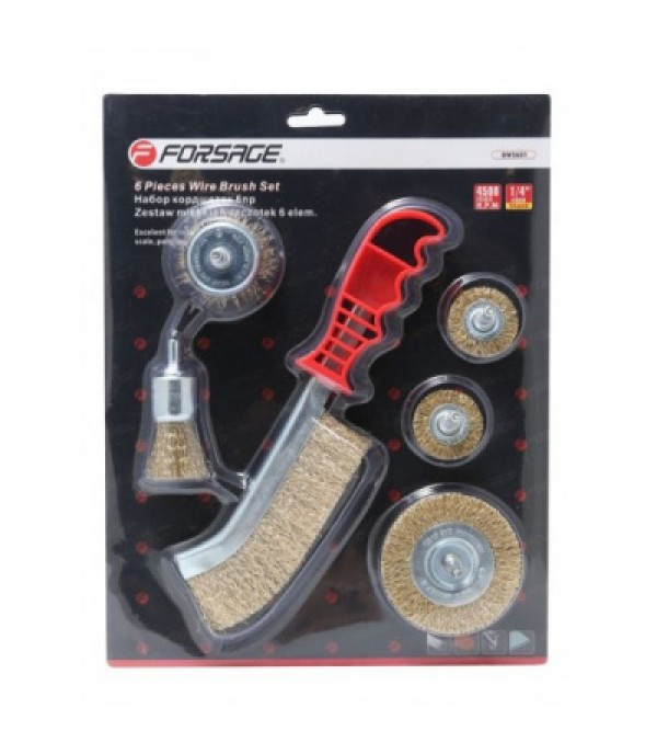 Набор кордщеток дисковых латунных для дрели+ручная 6пр (25, 2штх38, 50, 75мм) Forsage F-BWS601