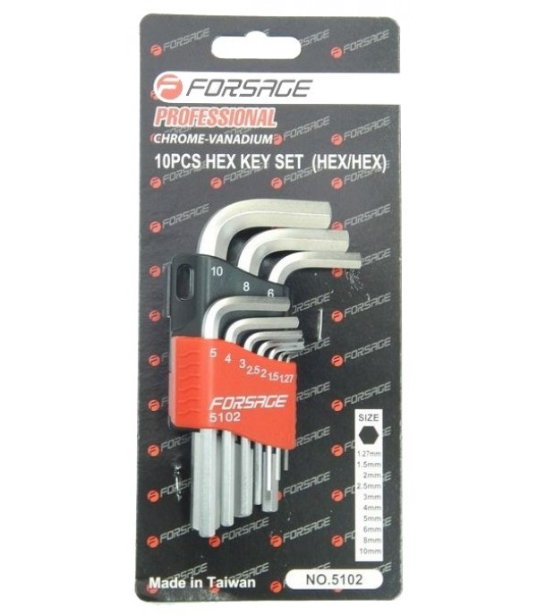 Набор ключей 6-гранных Г-образных длинных 10пр. в пластиковом держателе Forsage F-5102L