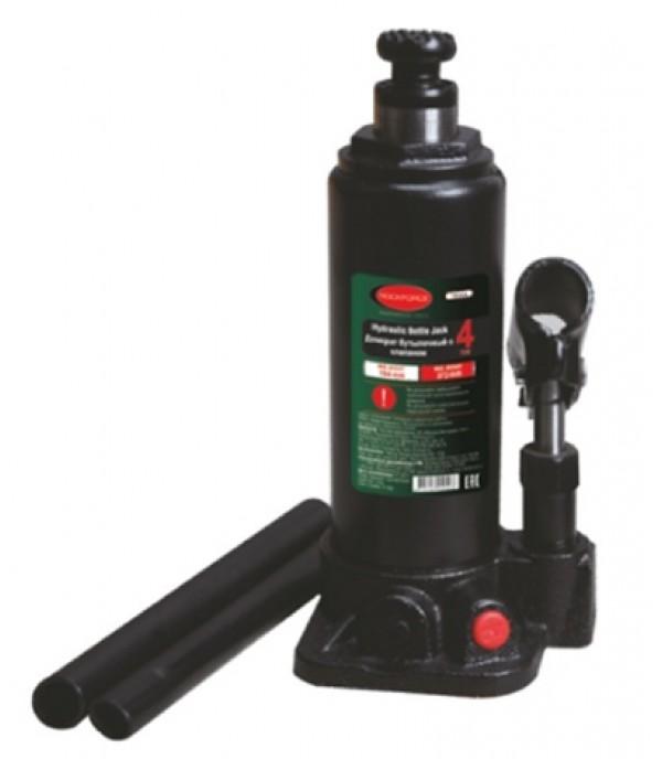 Домкрат бутылочный с клапаном + дополнительный ремкомплект, 4т Rock FORCE T90404