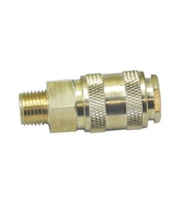 """Быстроразъем пневматический с клапаном с наружной резьбой 1/4"""" (латунь) Partner BSE1-2SM"""