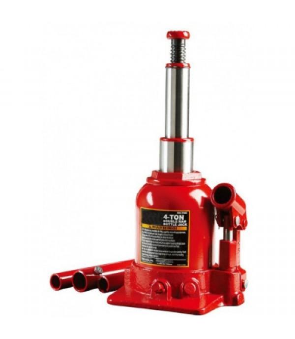 Домкрат бутылочный двухштоковый с клапаном + дополнительный ремкомплект, 4т Rock FORCE RF-TF0402