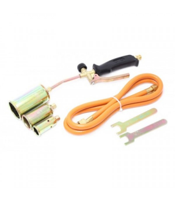 Горелка газовая с насадками и гибким шлангом (насадки-25,35,50мм; L-390мм; L шланга-1.5м) в блистере Forsage F-15040