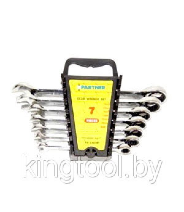 Набор ключей комбинированных трещоточных 7пр (8,10,12,13,14,17,19мм) Partner PA-3107M