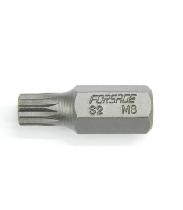 Бита SPLINE 12-лучевая 30ммL M8 под 10мм Forsage F-1783008