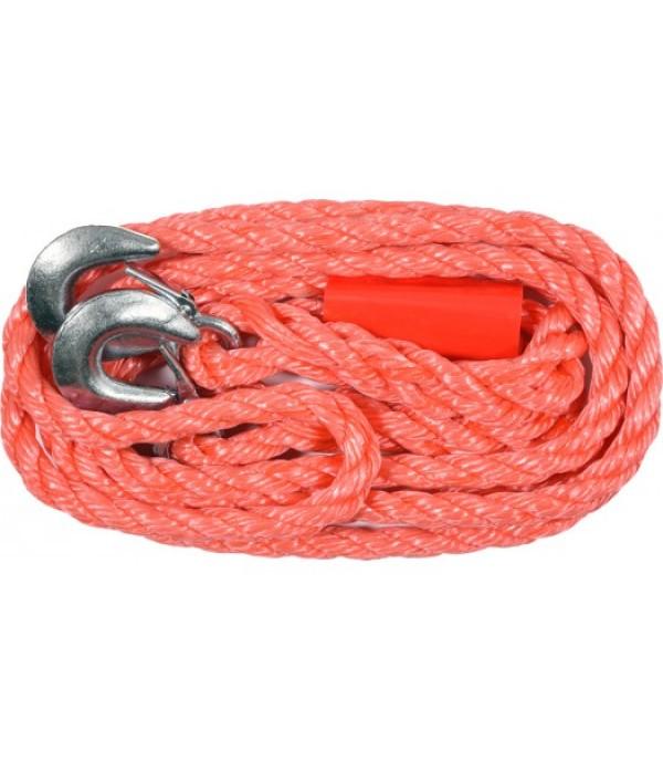 Трос буксировочный плетеный пропиленовый в комплекте с крюками (3500кг) VOREL 82200