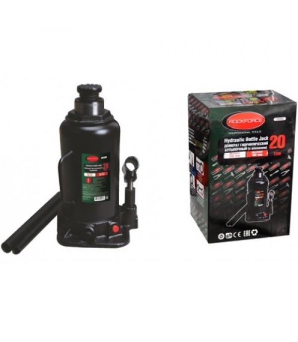 Домкрат бутылочный с клапаном + дополнительный ремкомплект 20т Rock FORCE RF-T92004
