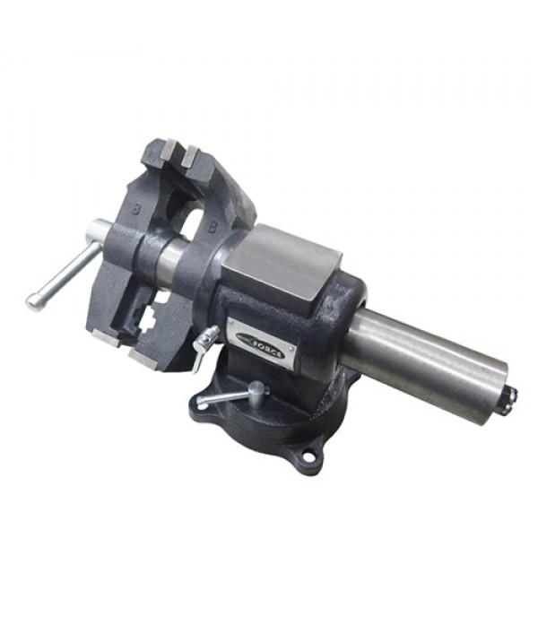 """Тиски стальные поворотные в двух плоскостях с наковальней + захват для труб 5""""-125 мм Rock FORCE 6540205DT"""