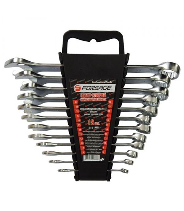 Набор ключей комбинированных 12 пр (6,8,10,12-19,22мм) в пластиковом держателе Forsage 5121MP